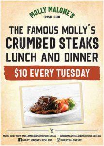 $10 Crumb Steak at Molly Malones Irish Pub Townsville